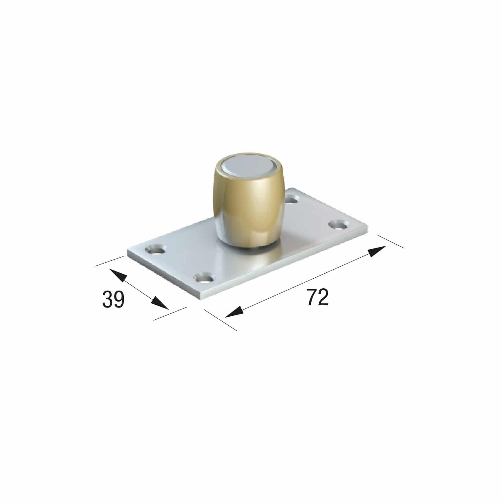 Series 50 20mm Diameter Brass Bottom Guide Roller, On Flat Steel Plate