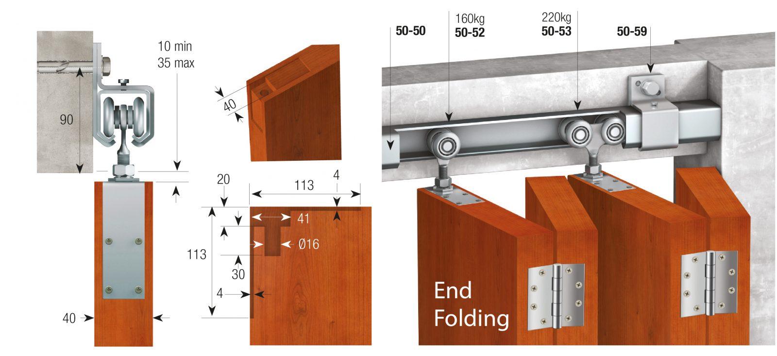 Series 20 Sliding Door System - maximum weight capacity 90kg